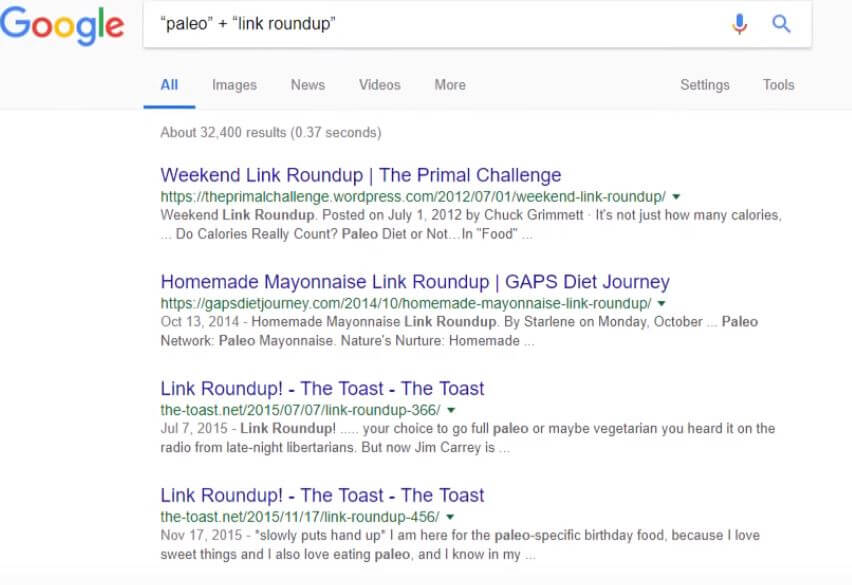google search results for link roundup
