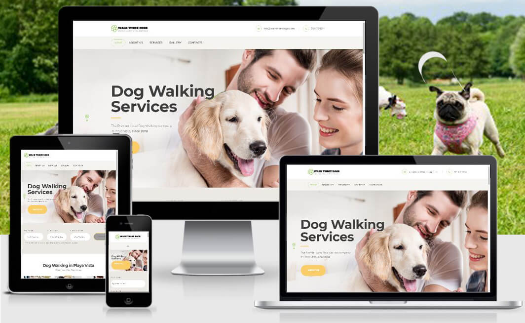 dog walking homepage web design project